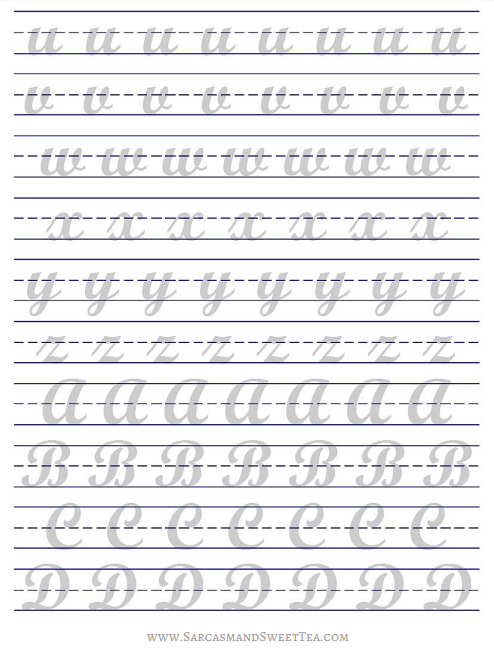 Calligraphy Alphabet Practice Sheets Printable Free - how i practice ...