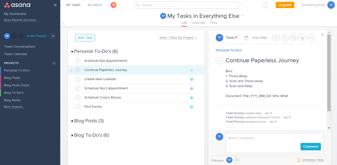 Asana Task Description and Notes