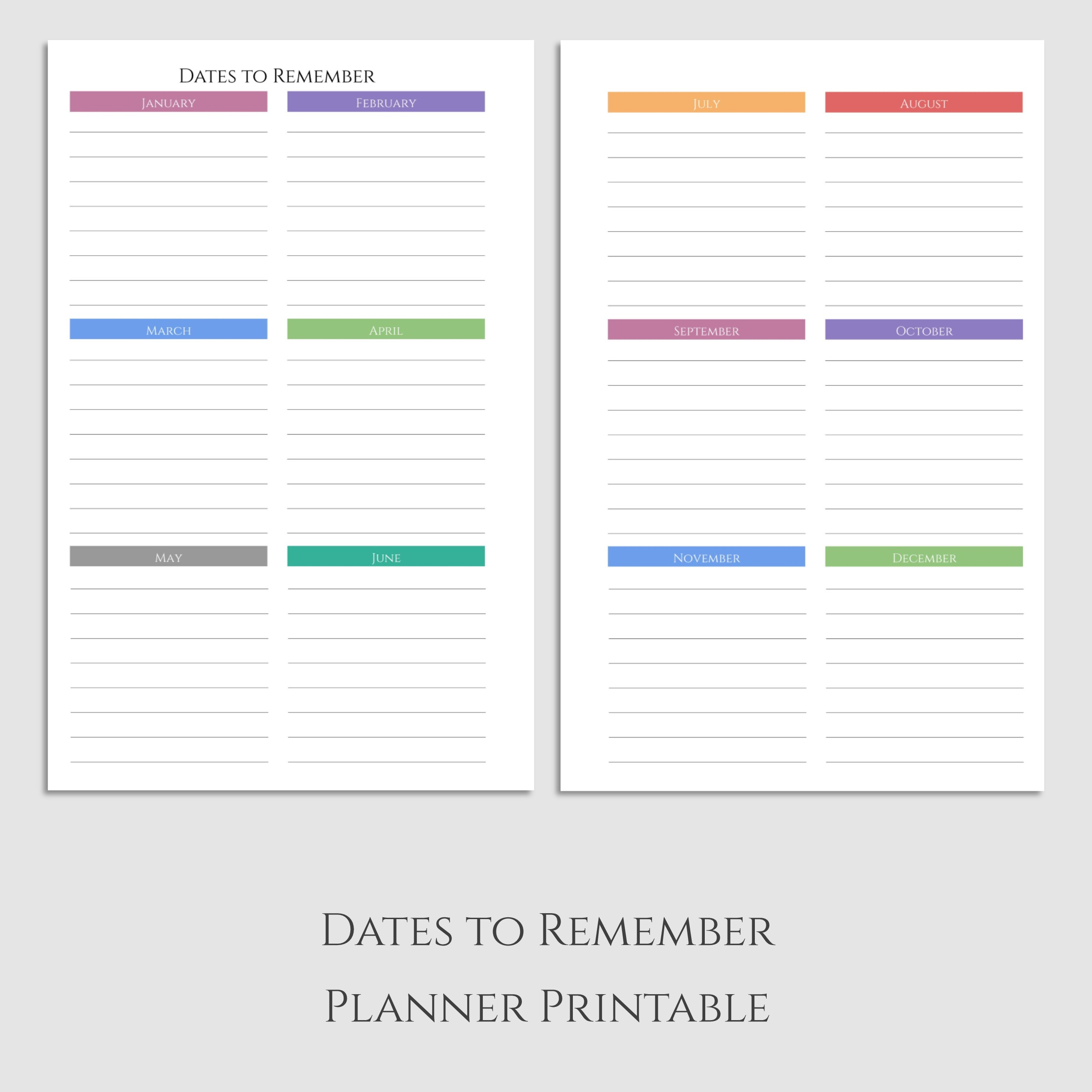 Dates to Remember Half Letter Printable