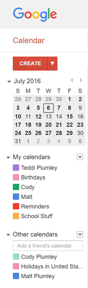Family Google Calendar