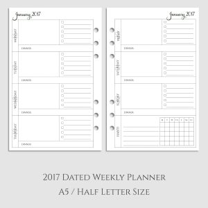 2017 Weekly Planner Inserts with Dinner & Habit Tracker