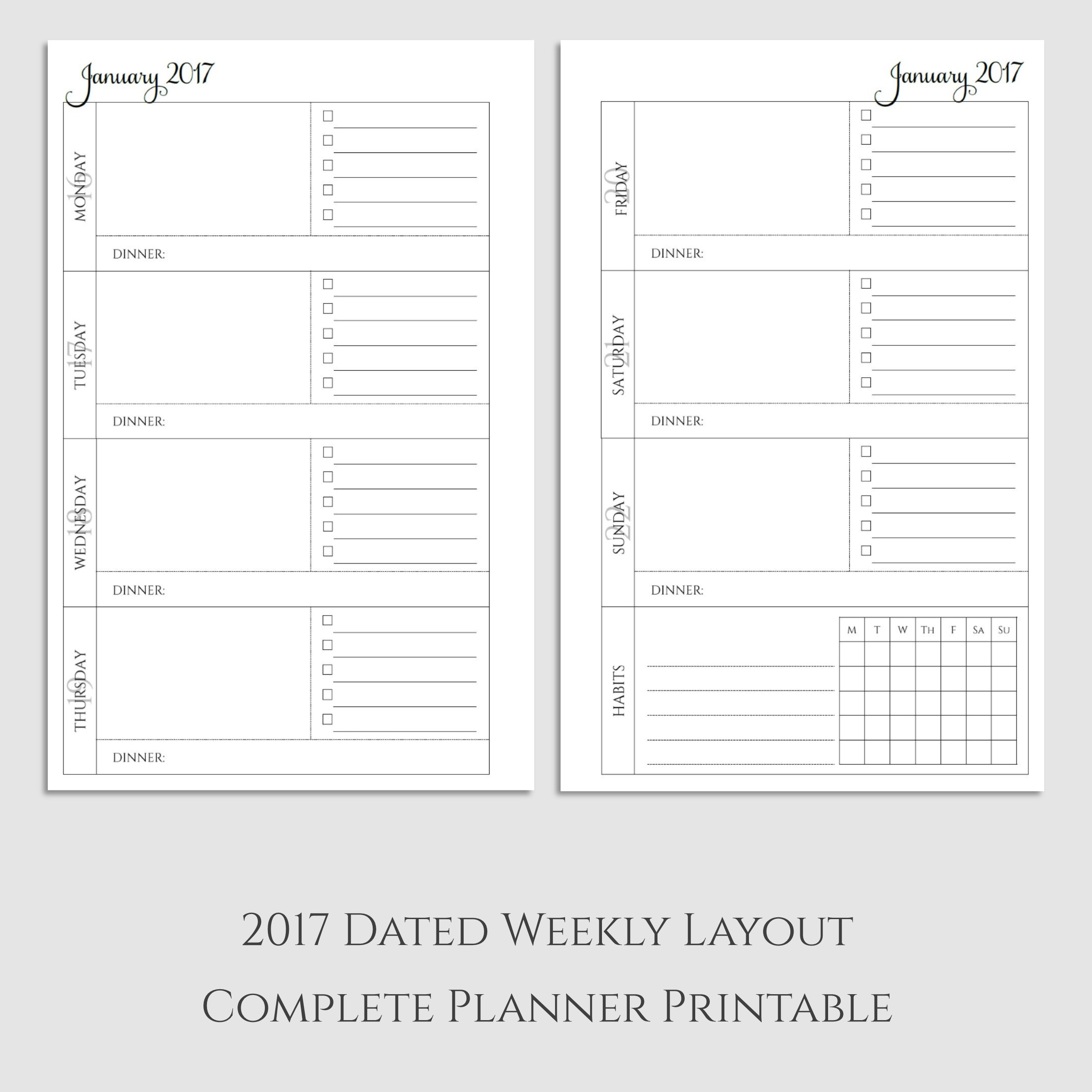Complete 2017 Weekly Planner Printable with Dinner & Habit Tracker