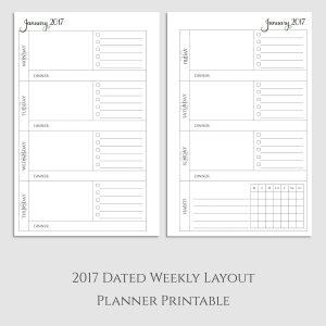2017 Weekly Planner Printable with Dinner & Habit Tracker