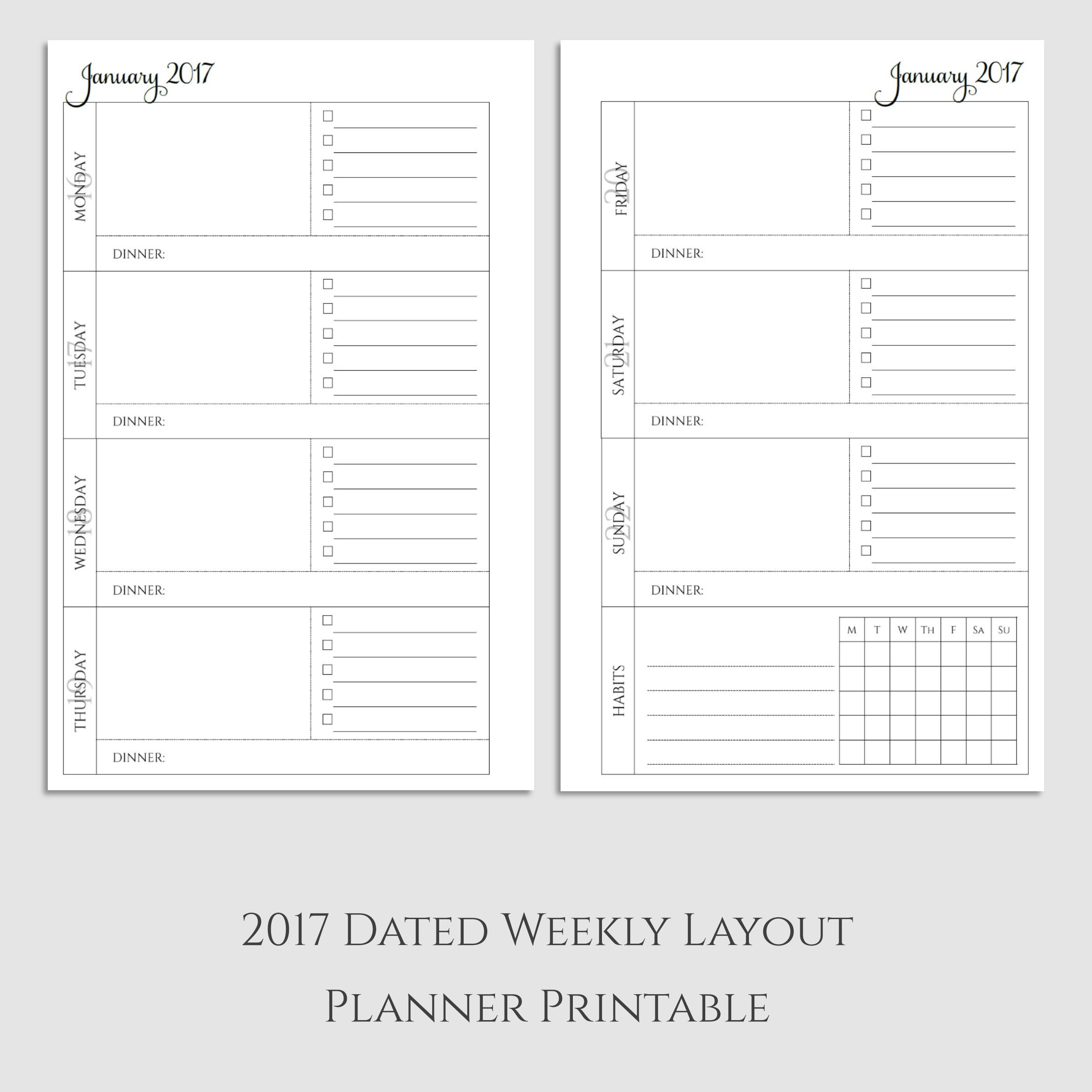 2017 Weekly Planner Printable with Dinner & Habit Tracker - Sarcasm ...