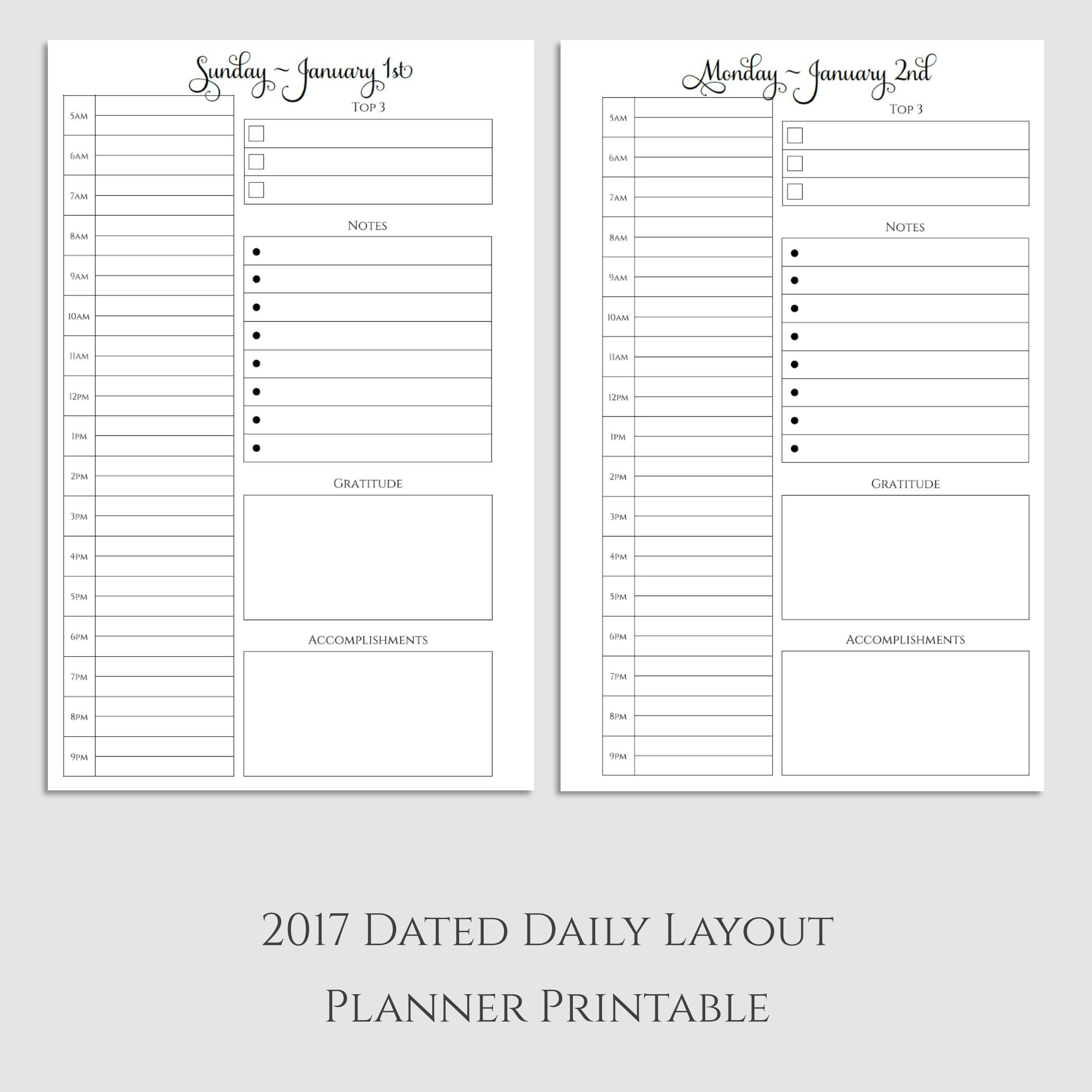 2017 Daily Planner Printable with Gratitude & Accomplishments