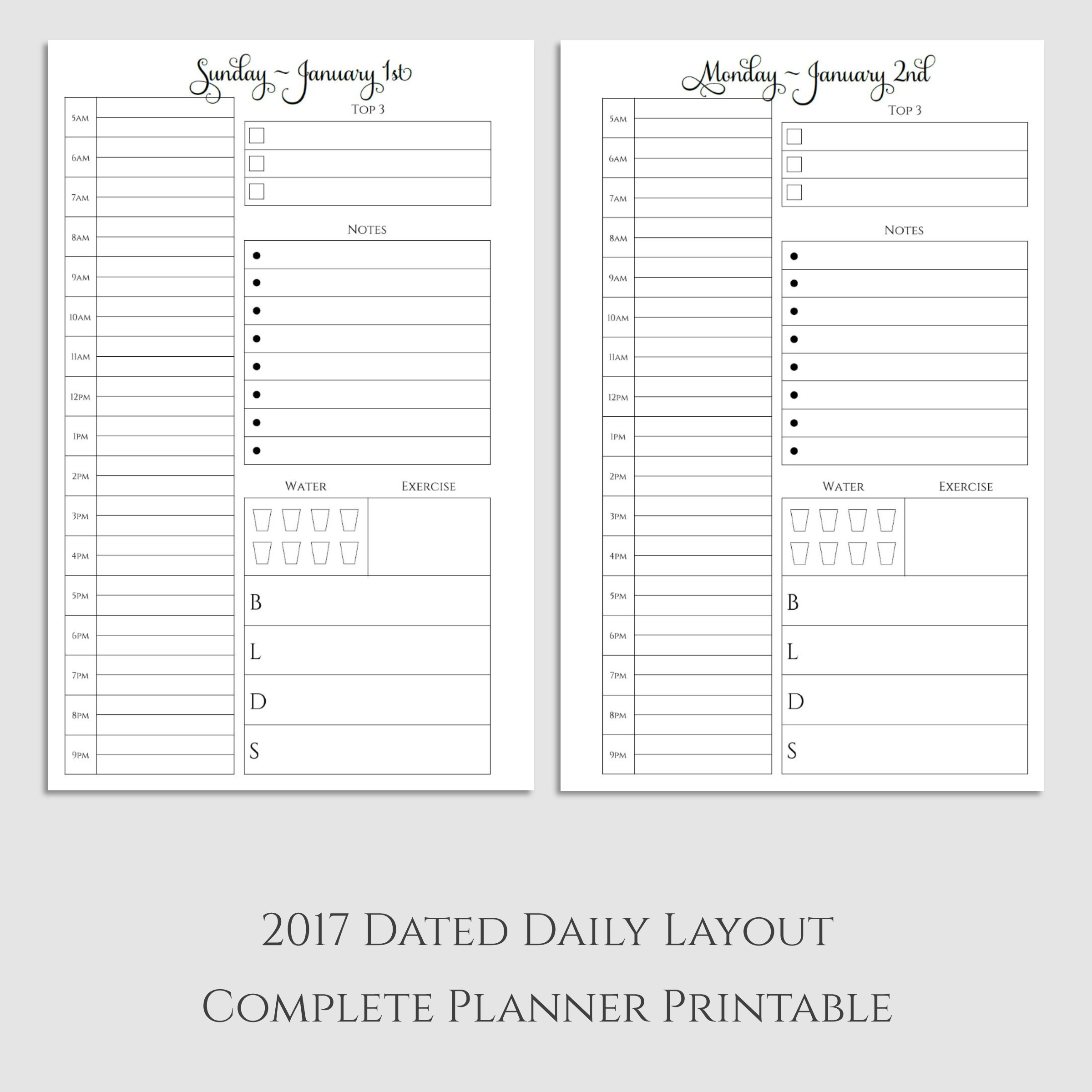 Complete 2017 Daily Planner Printable with Habit Tracker