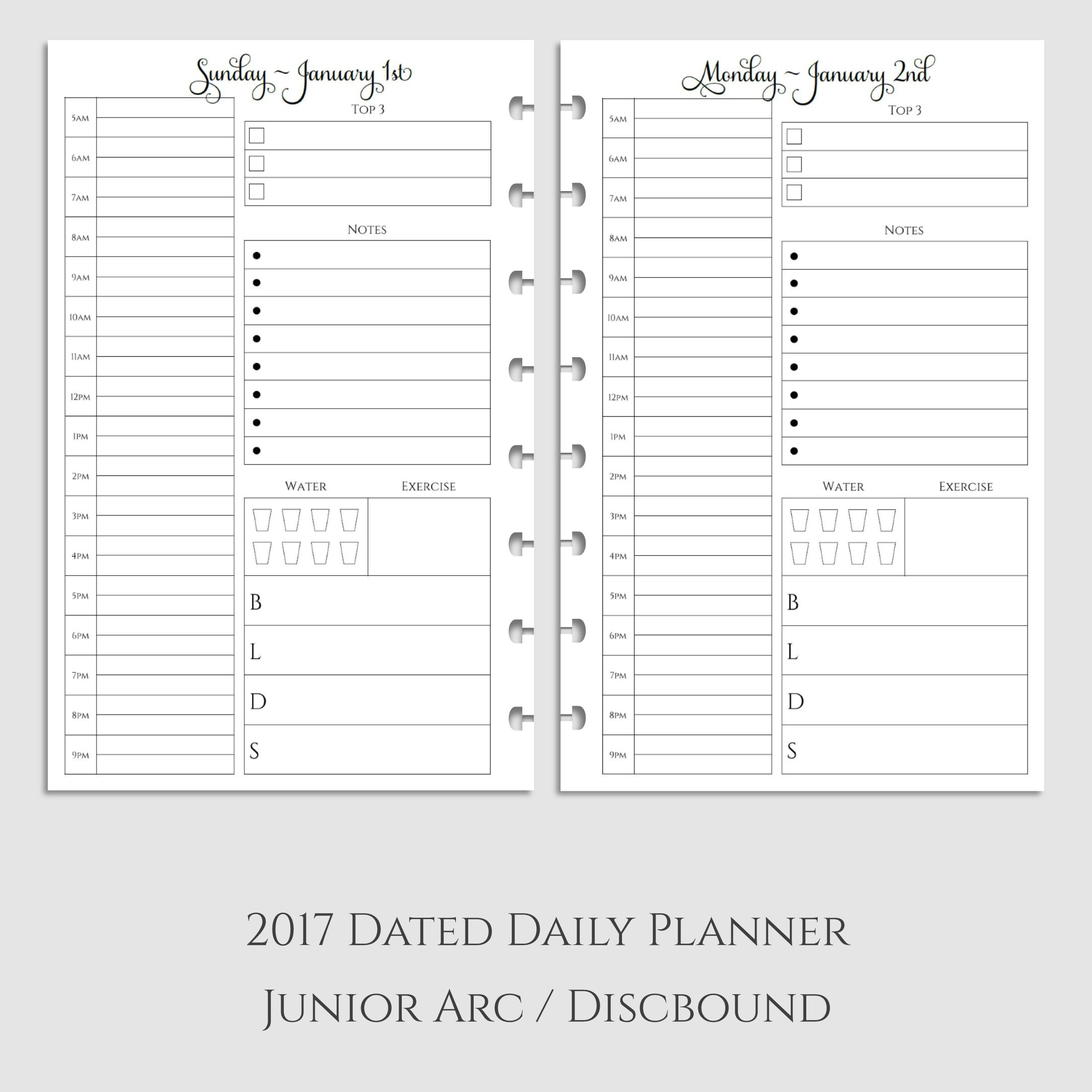 2017 Daily Planner Inserts with Health & Meal Tracking ~ Discbound