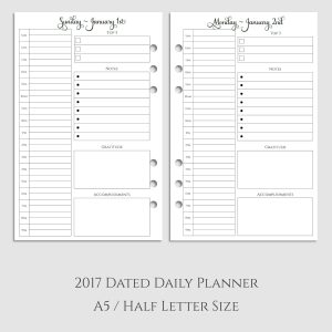 2017 Daily Planner Inserts with Daily Gratitude & Accomplishments