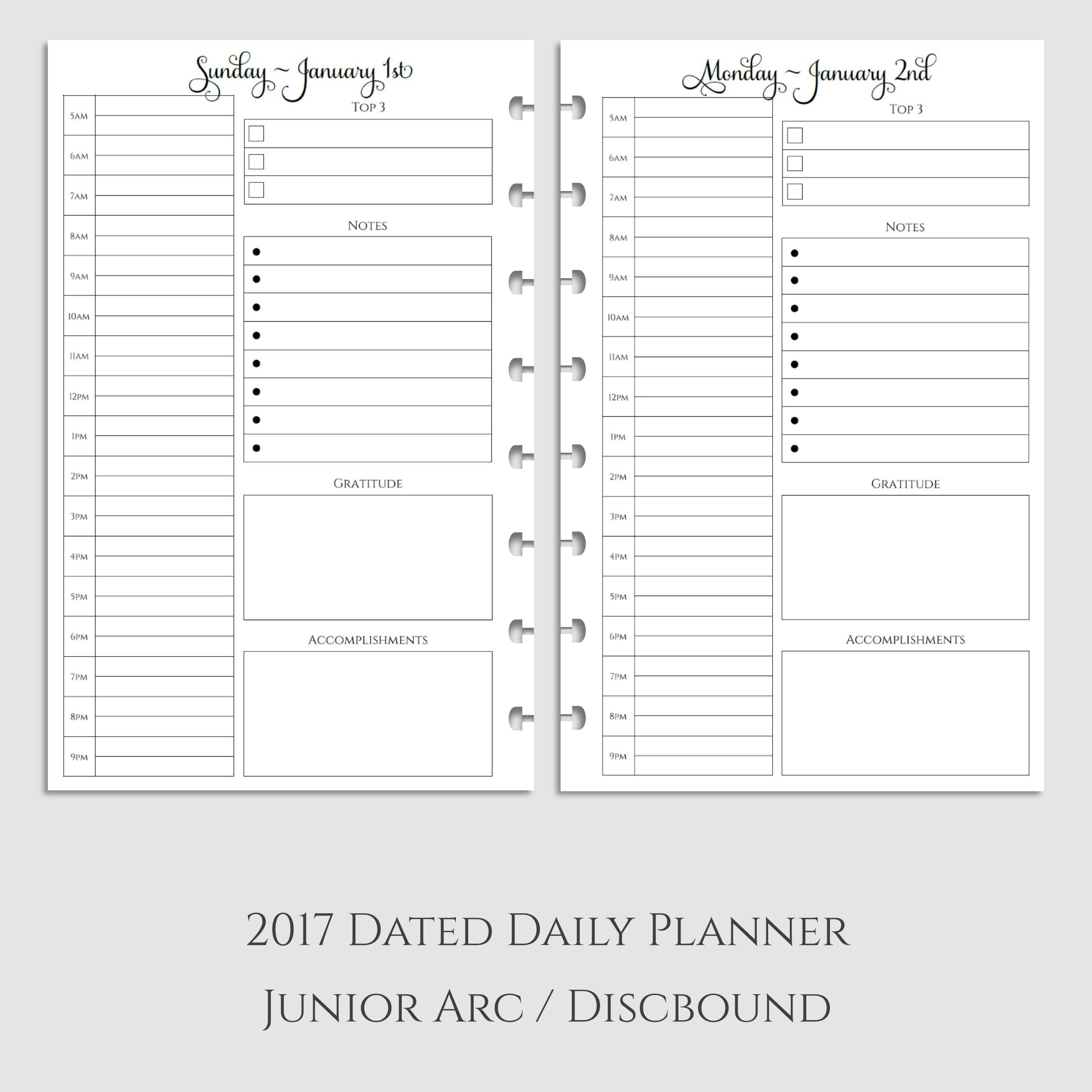 2017 Daily Planner Inserts with Daily Gratitude & Accomplishments ~ Discbound
