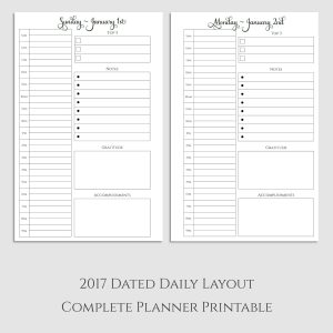 Complete 2017 Daily Planner Printable with Gratitude & Accomplishments