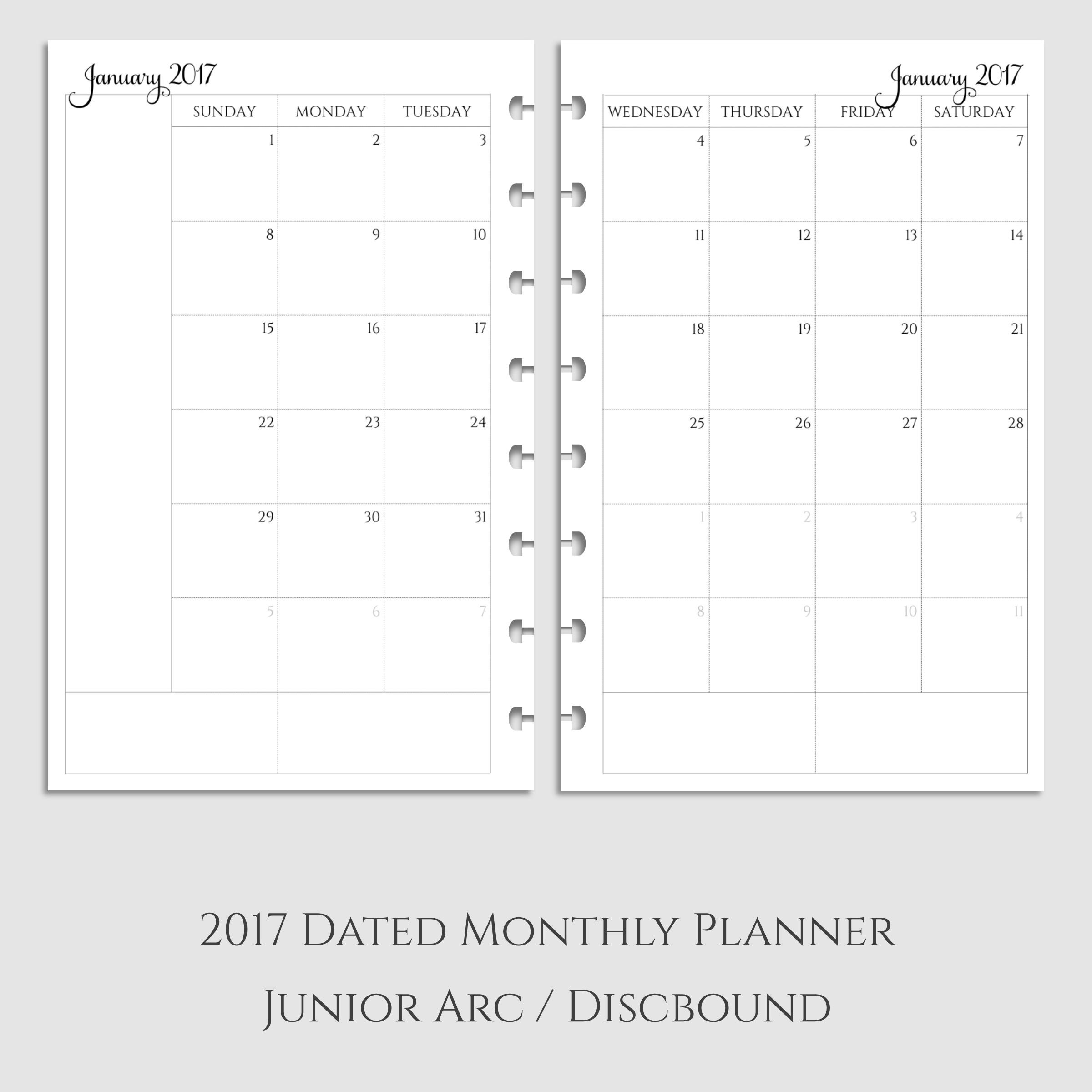 2017 Monthly Calendar Planner Inserts ~ Discbound