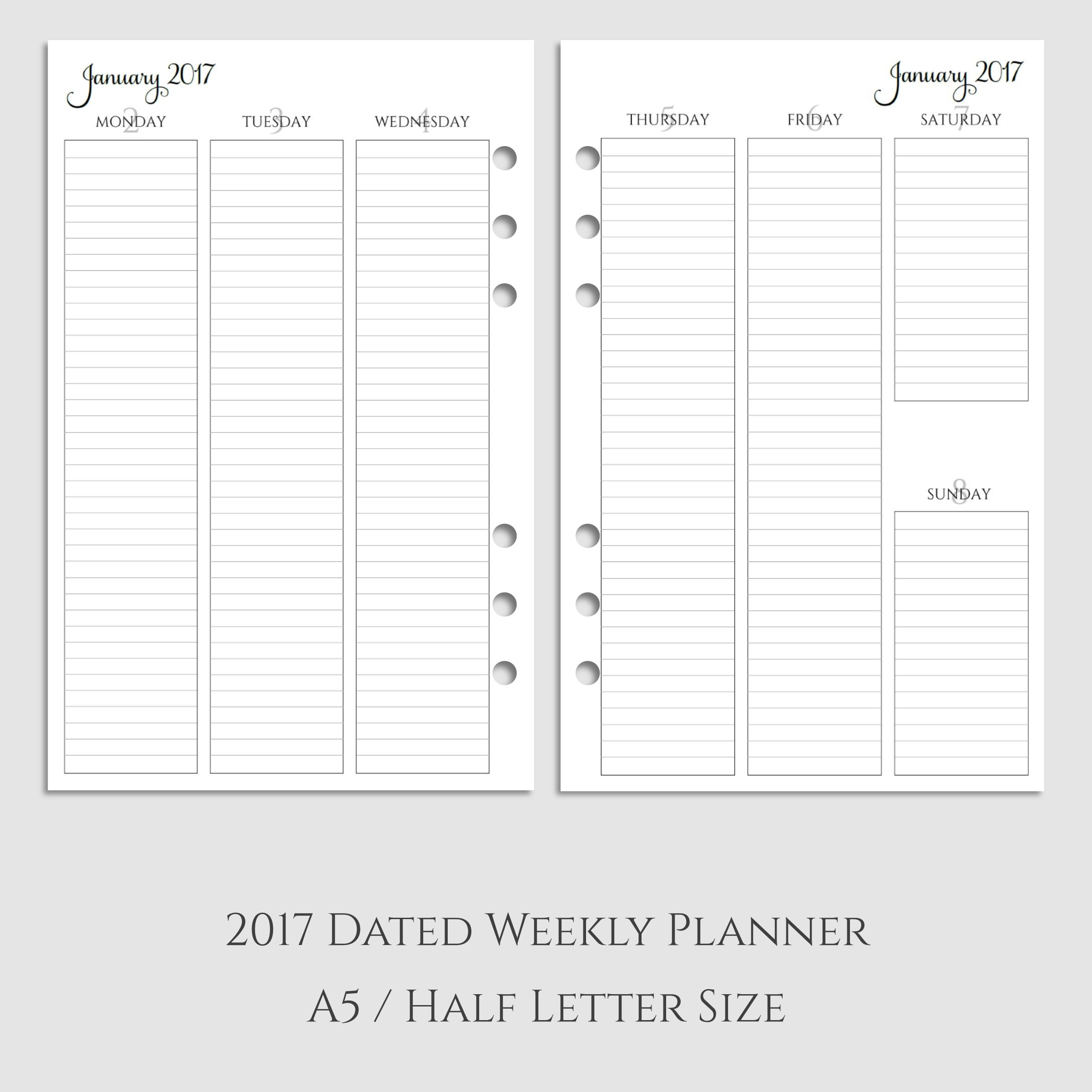2017 Weekly Vertical Lined Planner Inserts