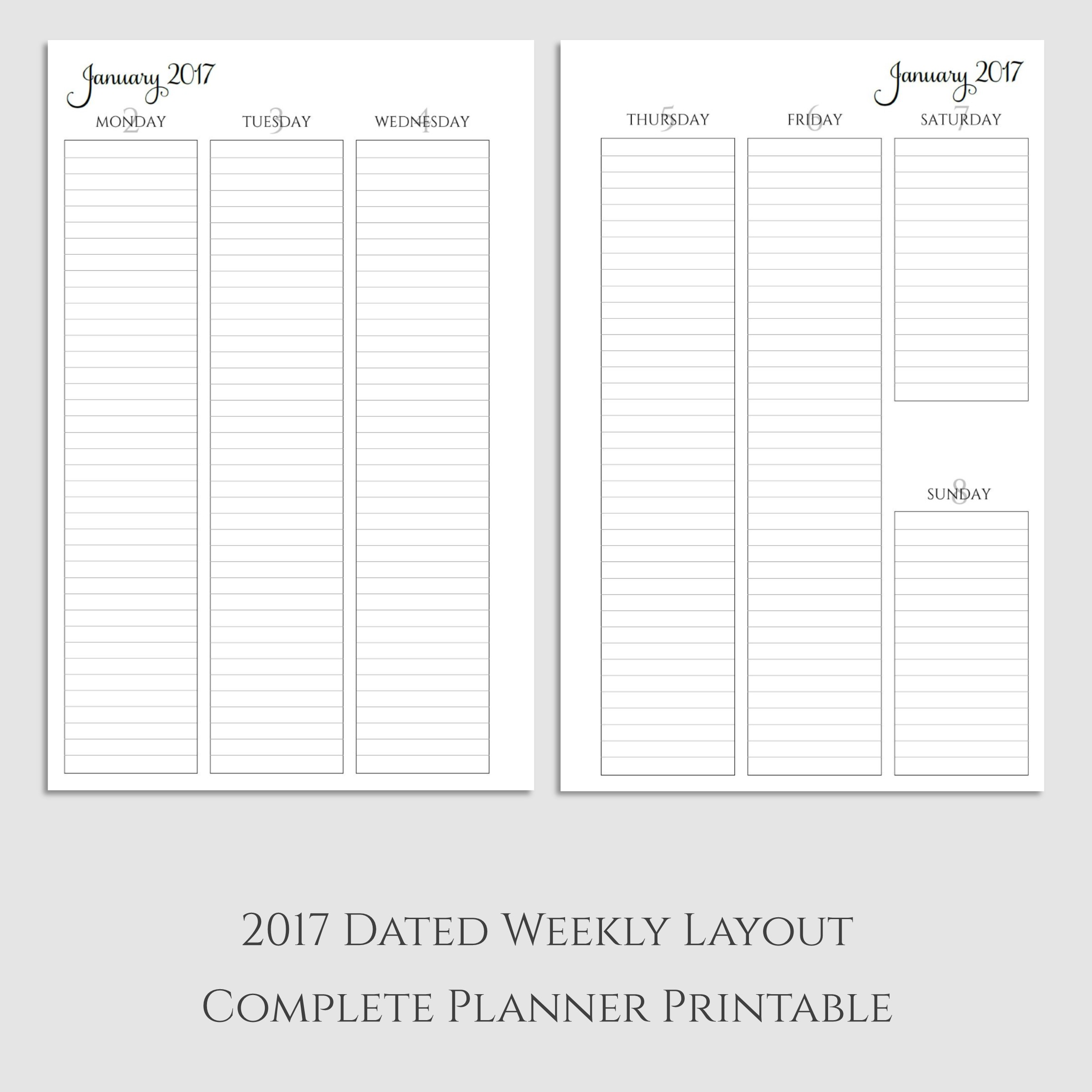 Complete 2017 Weekly Vertical Lined Planner Printable