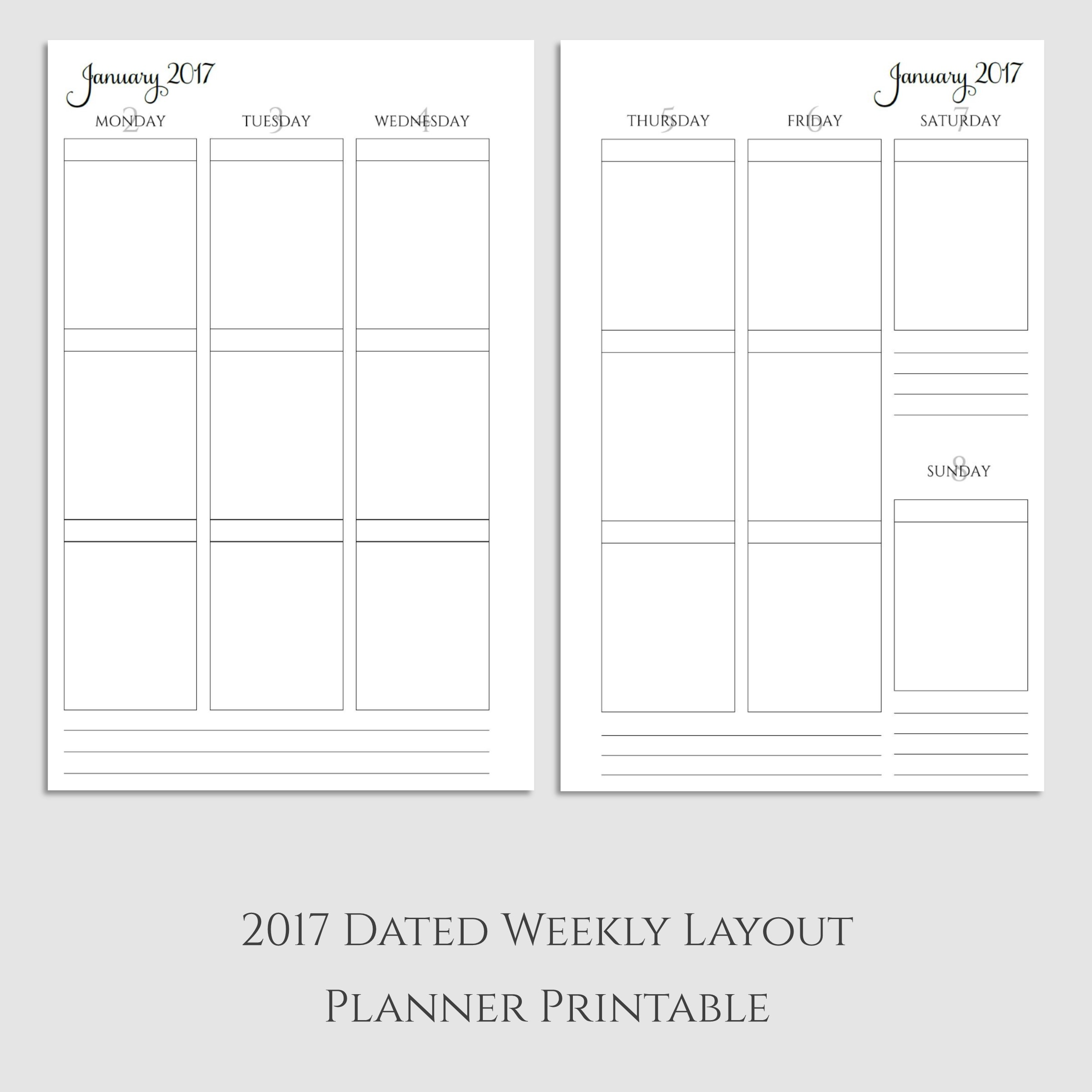 2017 Weekly Vertical Boxes Planner Printable