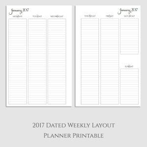 2017 Weekly Vertical Lined Planner Printable