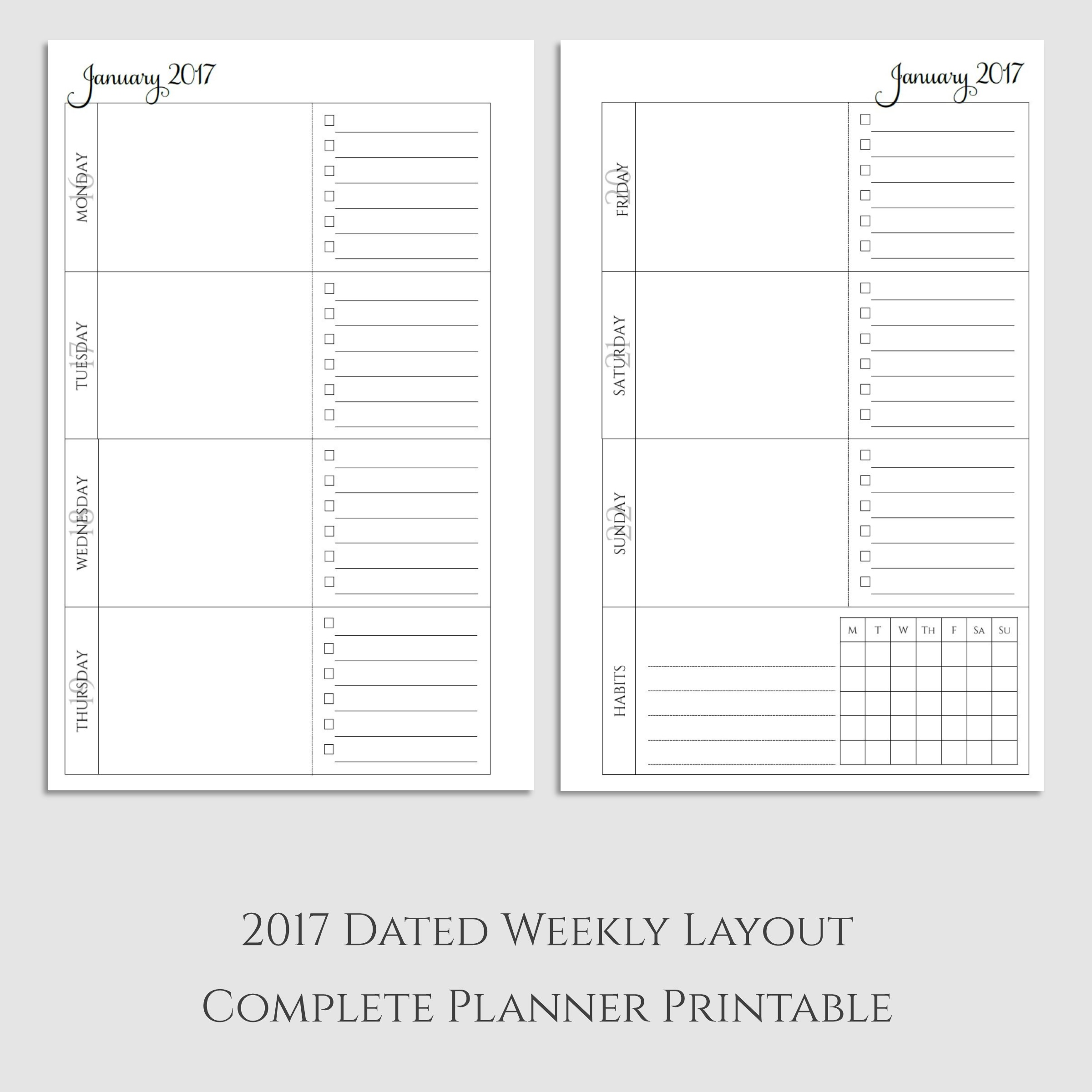 Complete 2017 Weekly Planner Printable with Habit Tracker
