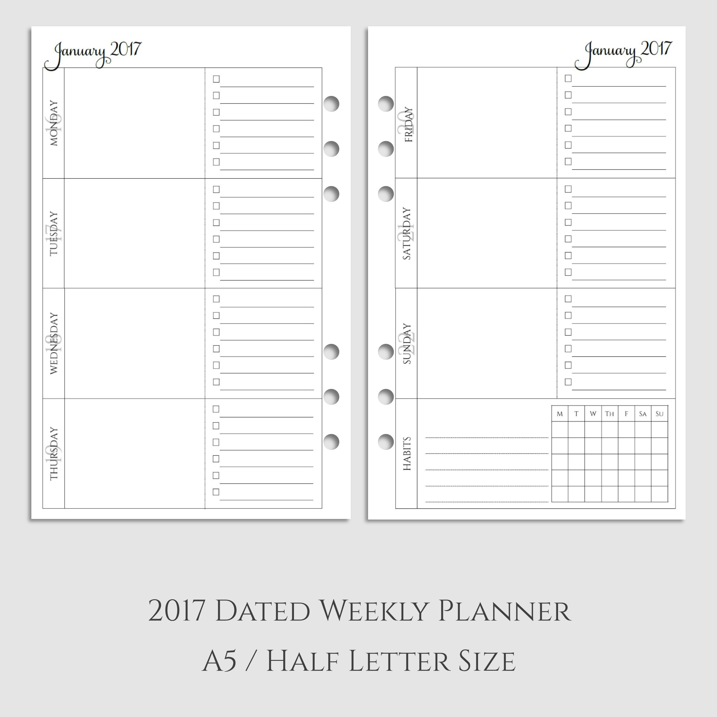 2017 Weekly Planner Inserts with Habit Tracker