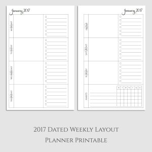 2017 Weekly Planner Printable with Habit Tracker