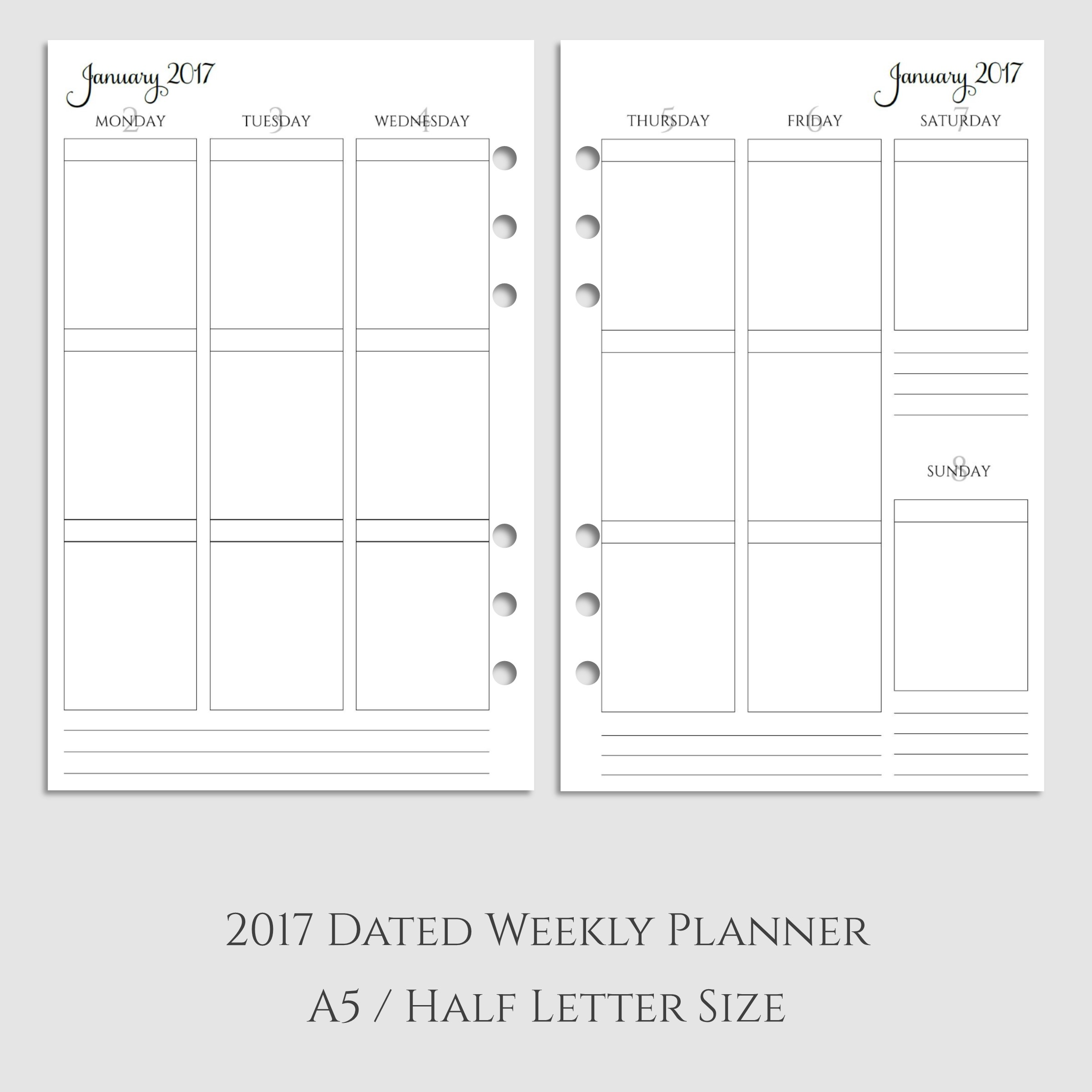 2017 Weekly Vertical Boxes Planner Inserts