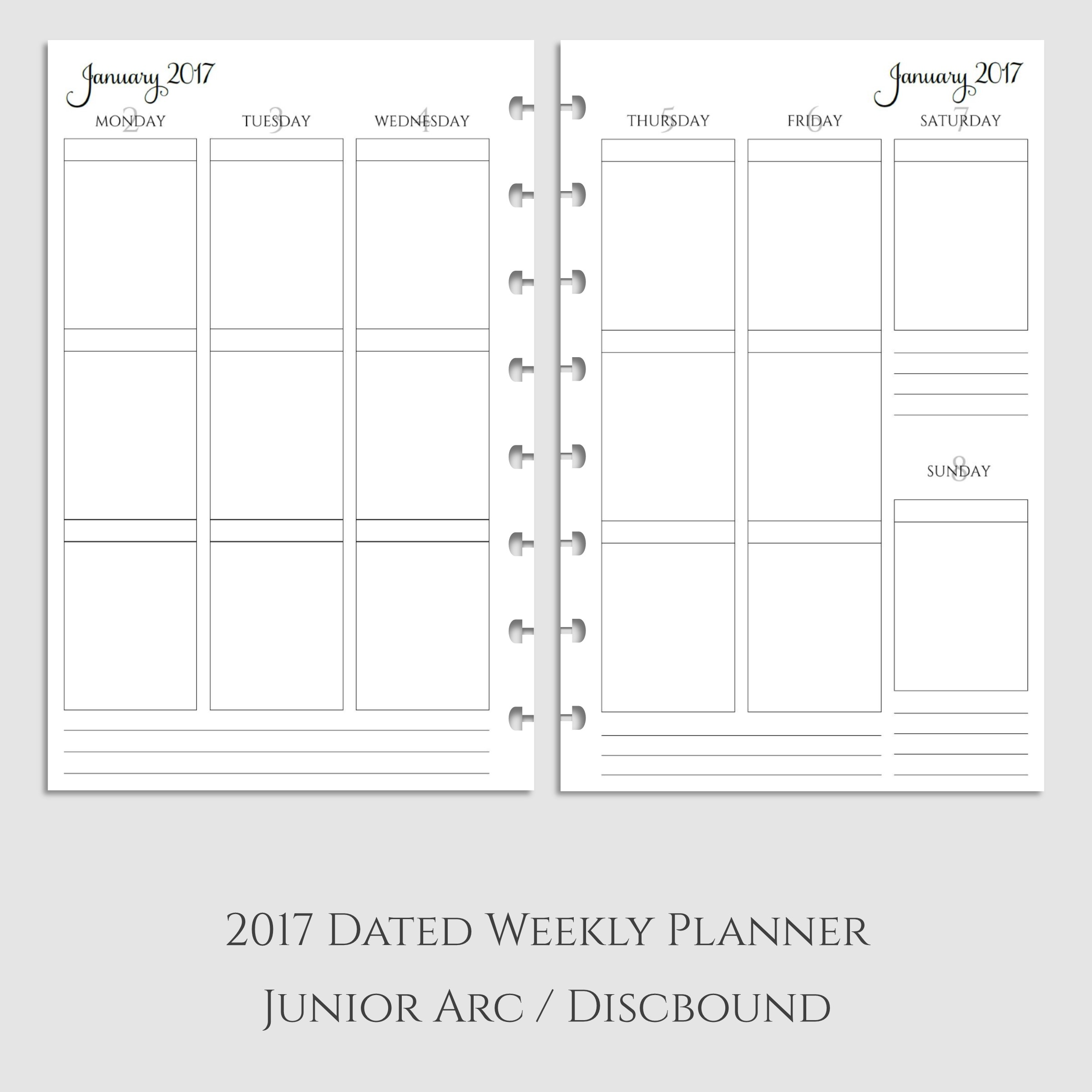 2017 Weekly Vertical Boxes Planner Inserts ~ Discbound