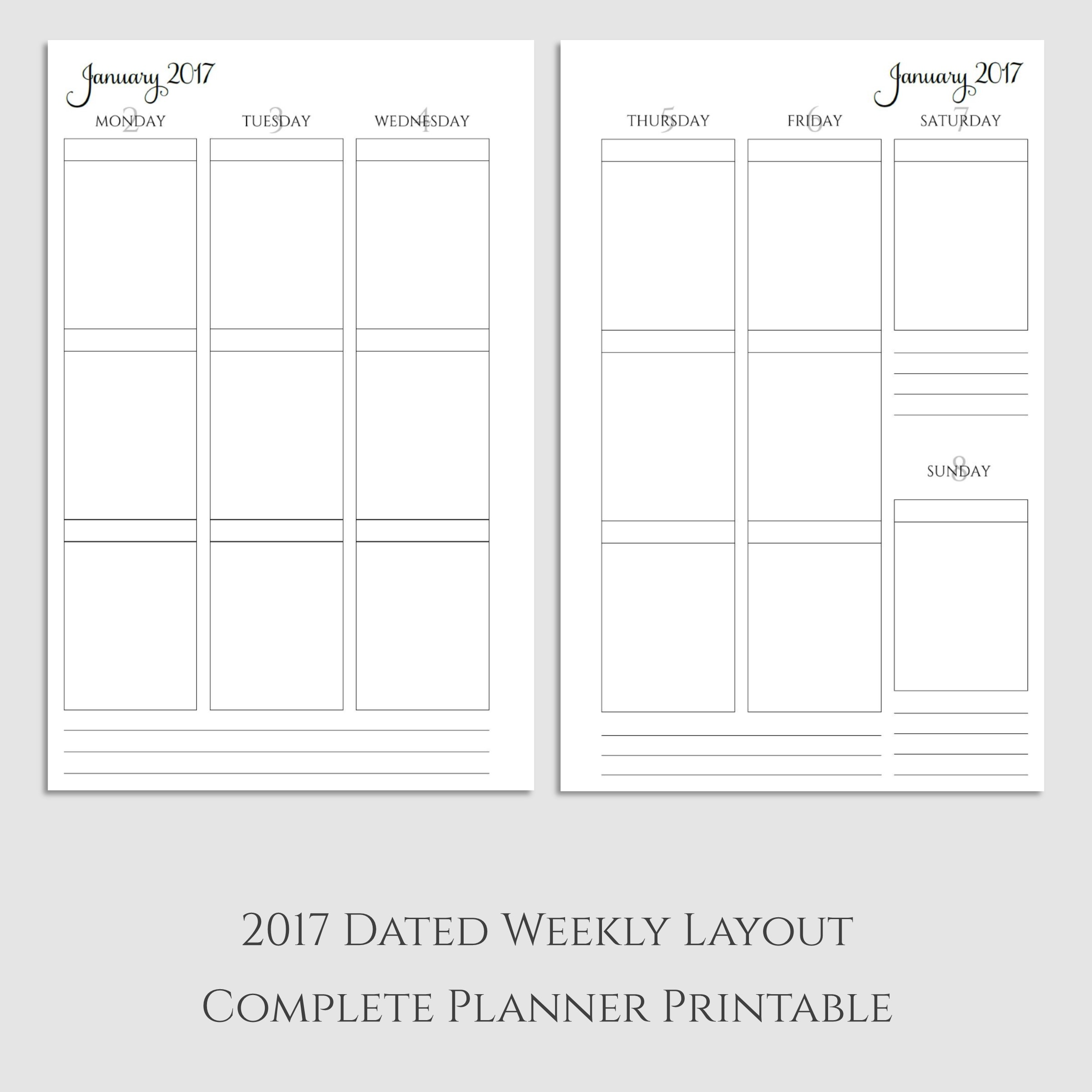 Complete 2017 Weekly Vertical Boxes Planner Printable
