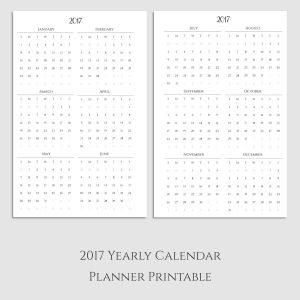 2017 Yearly Calendar Planner Printable